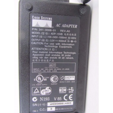 Cisco 341-0008-01 AC Power Adapter Charger For Cisco PIX-501 4.55A 3.3V aka ADP-15VB